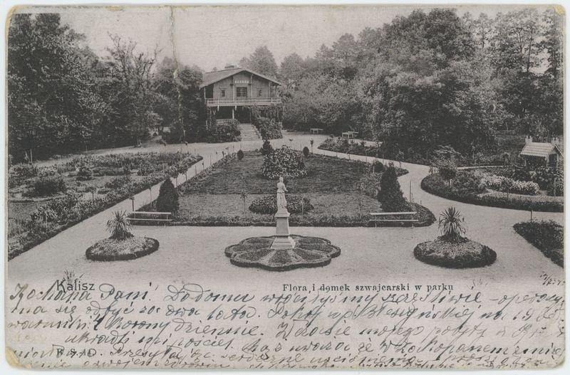 Flora i domek szwajcarski w parku, Kalisz