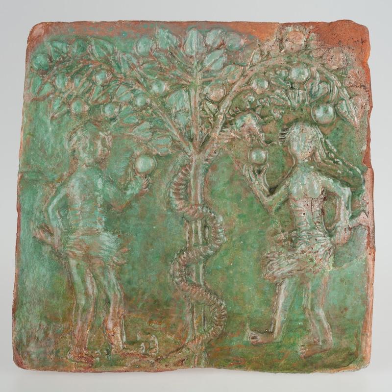 Kafel z wyobrażeniem kuszenia Adama i Ewy w Raju