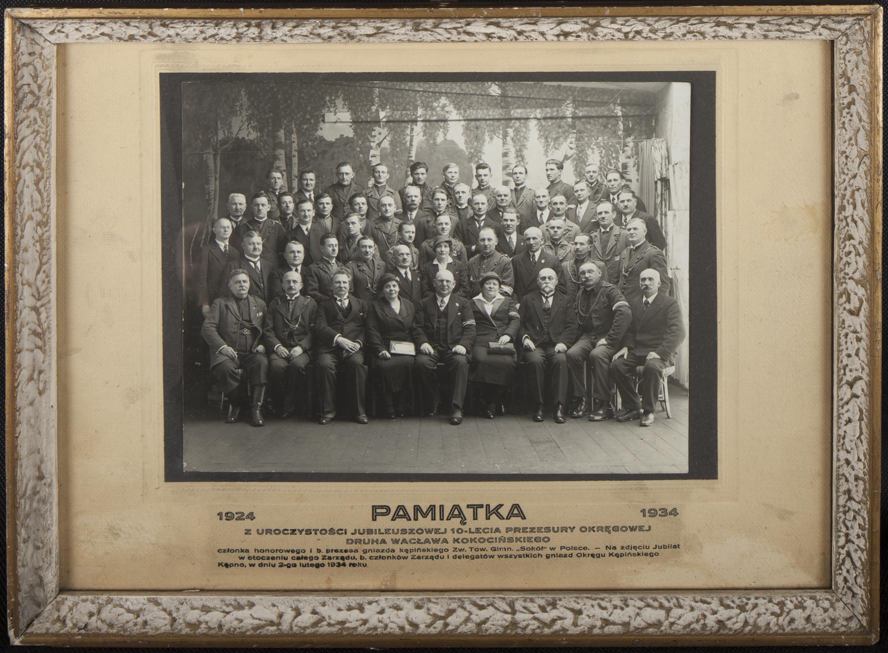 Pamiątka z uroczystości jubileuszowej X-lecia prezesury okręgowej druha Wacława Kokocińskiego