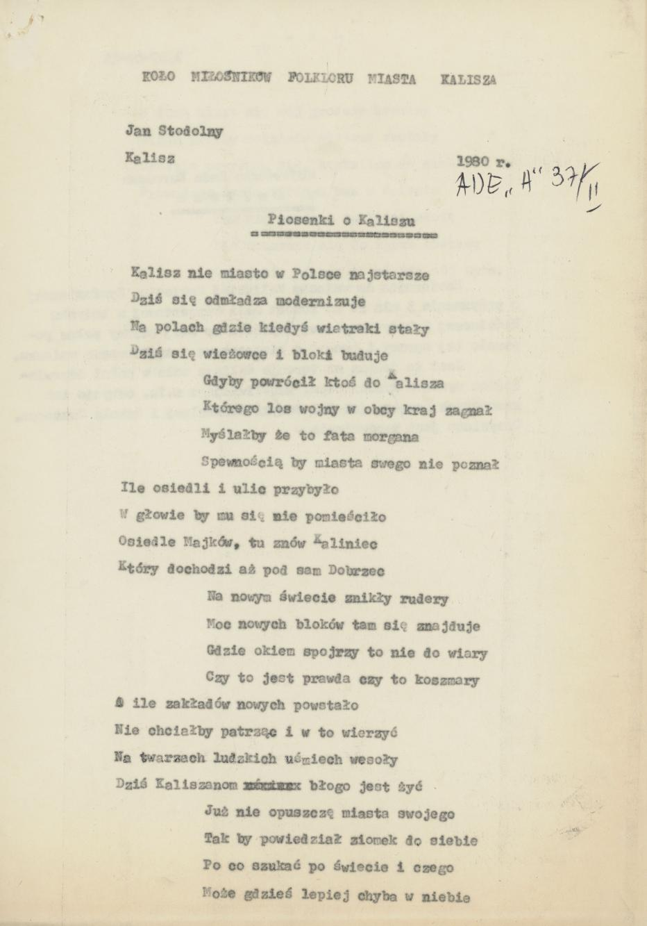 Piosenki o Kaliszu