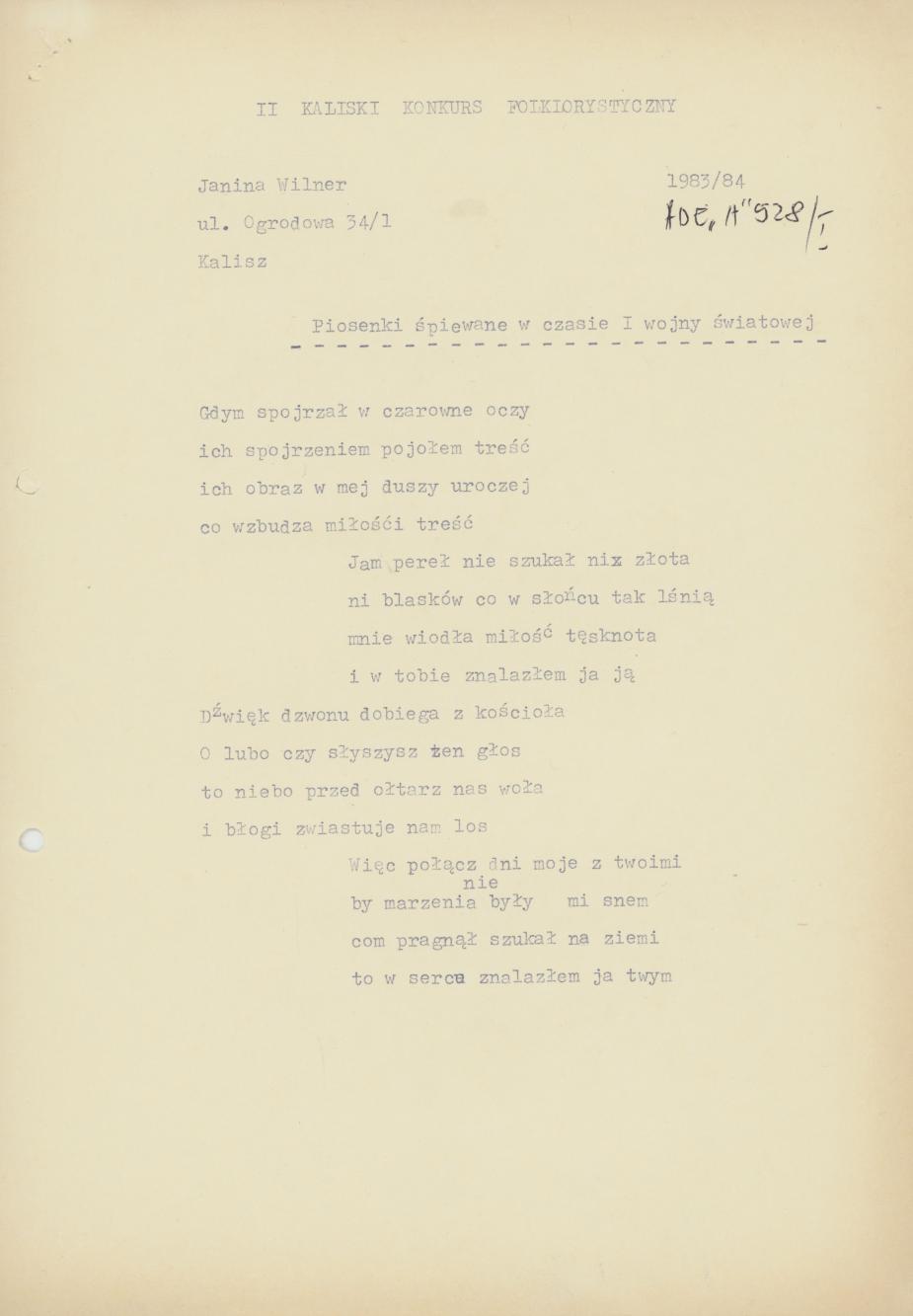Piosenki śpiewane w czasie I wojny światowej