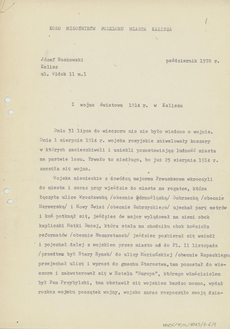 I wojna światowa 1914 r. w Kaliszu