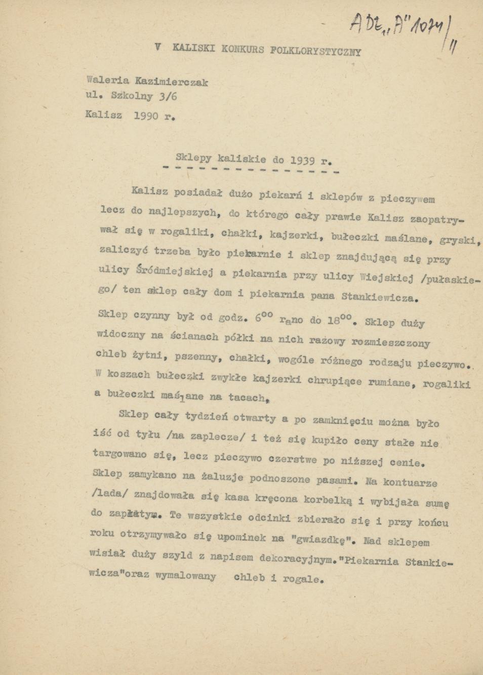 Sklepy kaliskie do 1939 r.