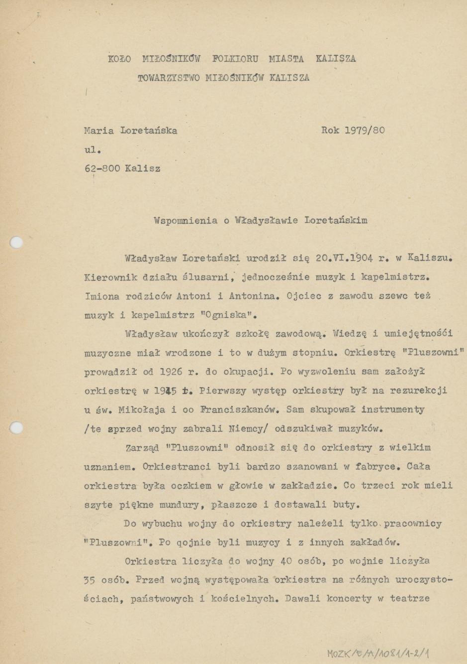 Wspomnienia o Władysławie Loretańskim