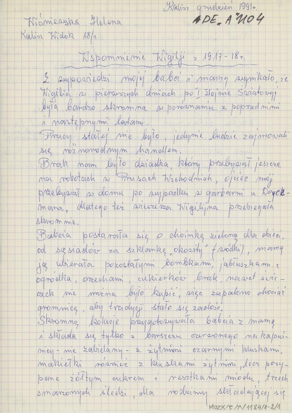 Wspomnienie Wigilii z 1917-18 r.