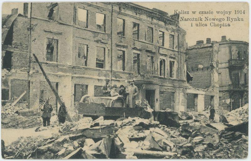 Kalisz w czasie wojny 1914 Narożnik Nowego Rynku i ulicy Chopina